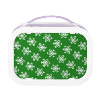 Festive Snowflake Green and White Lunch Box