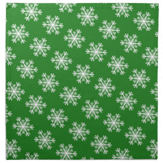 Festive Snowflake Green and White Napkin
