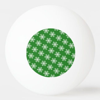 Festive Snowflake Green and White Ping Pong Ball