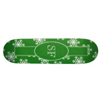 Festive Snowflake Green & White Monogram 21.6 Cm Old School Skateboard Deck