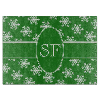 Festive Snowflake Green & White Monogram Cutting Board