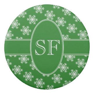 Festive Snowflake Green & White Monogram Eraser