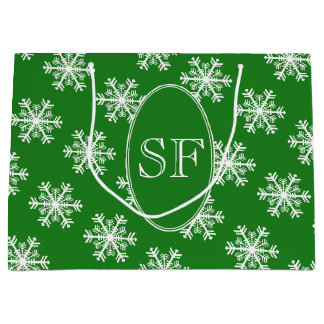 Festive Snowflake Green & White Monogram Large Gift Bag