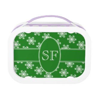 Festive Snowflake Green & White Monogram Lunch Box