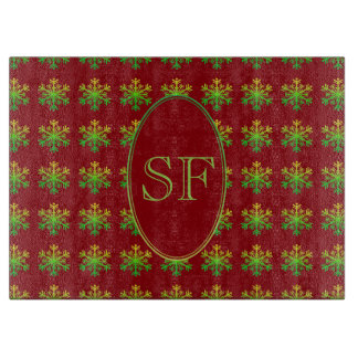 Festive Snowflake Red Gold Green Monogram Cutting Board