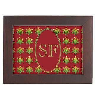 Festive Snowflake Red Gold Green Monogram Keepsake Box