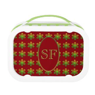 Festive Snowflake Red Gold Green Monogram Lunch Box