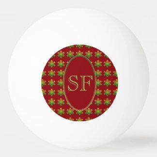 Festive Snowflake Red Gold Green Monogram Ping Pong Ball