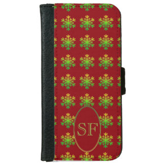 Festive Snowflake Red Green Gold Monogram iPhone 6 Wallet Case