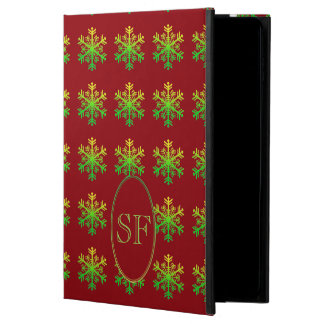 Festive Snowflake Red Green Gold Monogram Powis iPad Air 2 Case