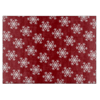 Festive Snowflake Red & White Cutting Board