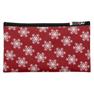 Festive Snowflake Red & White Makeup Bag
