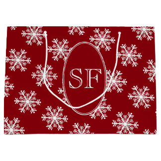 Festive Snowflake Red White Monogram Large Gift Bag