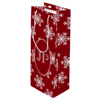 Festive Snowflake Red & White Monogram Wine Gift Bag