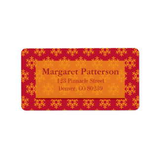 Festive Snowflakes - Red and Orange Address Label