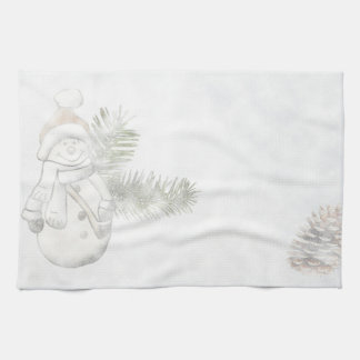Festive Snowman Holidays Tea Towel
