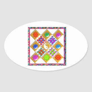 Festive Stars and Ornaments Oval Sticker