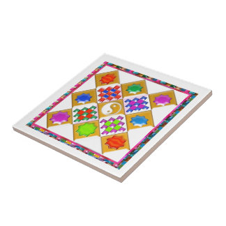 Festive Stars and Ornaments Tile
