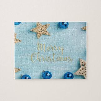 Festive Stars Baubles Merry Christmas Glitter Jigsaw Puzzle