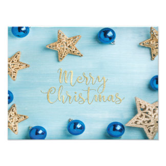 Festive Stars Baubles Merry Christmas Glitter Photo Print