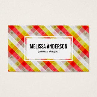 Festive Stripes   Snowflakes Business Card