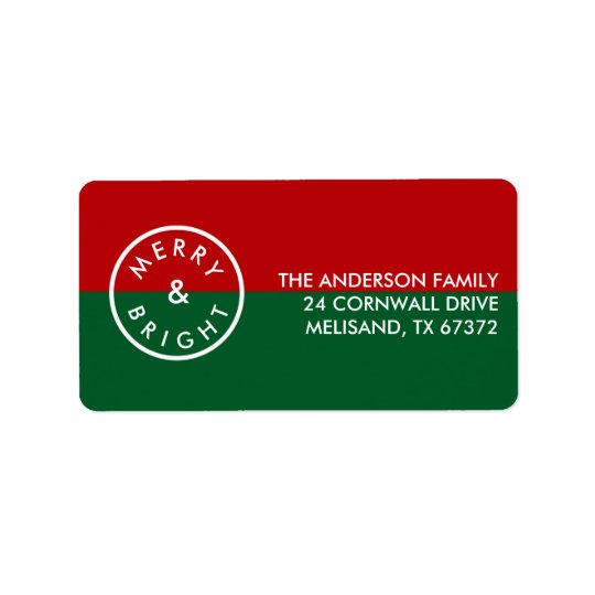 Festive Stylish Seal Red Green Holiday Address Label