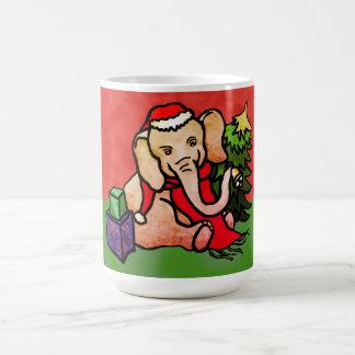 Festive Sweet Christmas Cartoon Santa Elephant Coffee Mug