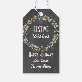 Festive Tags Christmas Xmas Wreath Gift Tags Merry