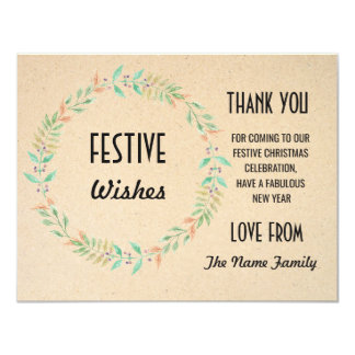Festive Thank you Cards Merry Christmas Holidays