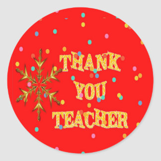 Festive Thank You Teacher Classic Round Sticker
