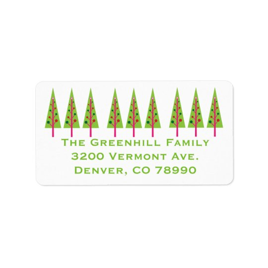 Festive Trees Christmas Address Label