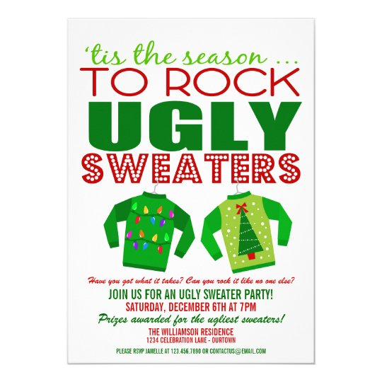 Ugly Christmas Sweater Party Invite.Festive Ugly Christmas Sweaters Party Invitation