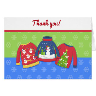 Festive Ugly Sweater Folded Thank you note Card
