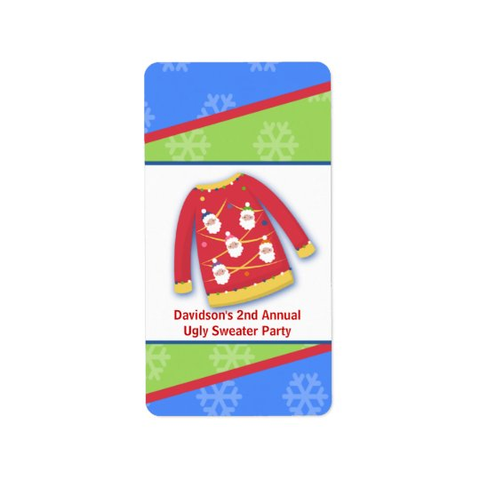 Festive Ugly Sweater Party Miniature Label Sticker