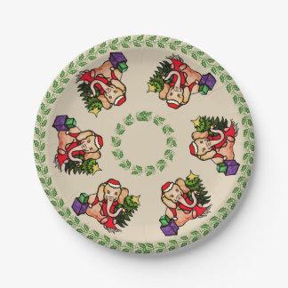 Festive Vintage Cartoon Elephants Merry Christmas Paper Plate