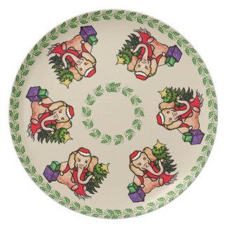 Festive Vintage Cartoon Elephants Merry Christmas Plate
