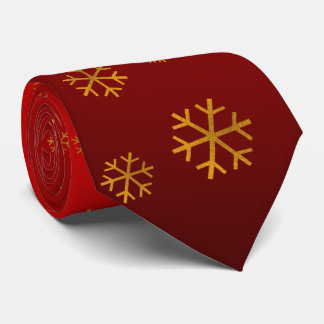 Festive Warm Red with Snowflakes Tie