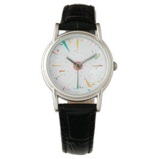 Festive watch with colorful confetti designs