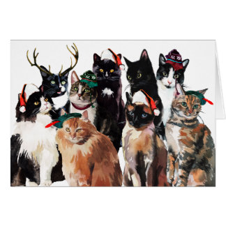 Festive Watercolor Cats Clowder Happy Holidays Card