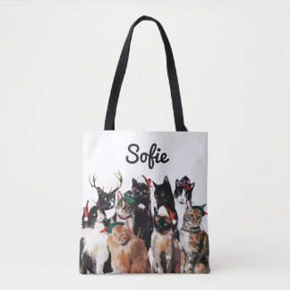 Festive Watercolor Cats Personalized Holiday Tote Bag
