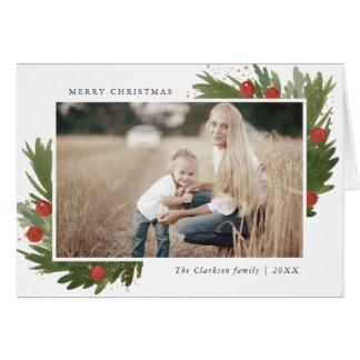 Festive Watercolor - Christmas Photo Greeting Card