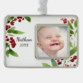 Festive Watercolor Holly Silver Plated Framed Ornament