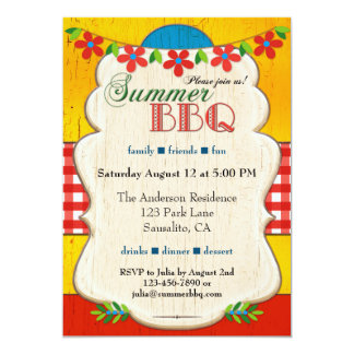Festive Whimsical Summer BBQ Party Invitation