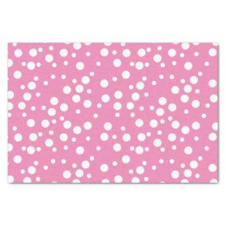 Festive White Polka Dots on Pink Tissue Paper