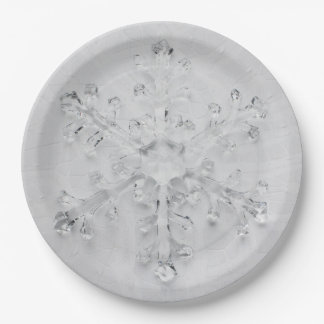 Festive White Snowflake on Lace Paper Plate