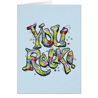 "Festive ""You Rock!"" Lettering Note Card"