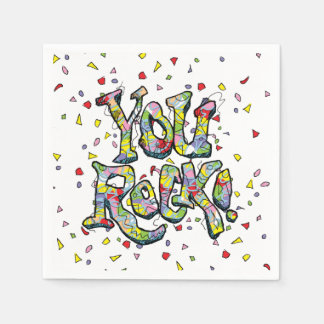 "Festive ""You Rock!"" Lettering Paper Napkins"