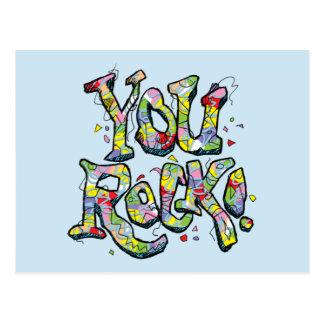 "Festive ""You Rock!"" Lettering Postcard"
