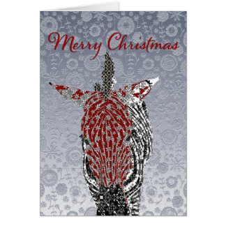 Festive Zebra Silver Ornate  Christmas Greeting Greeting Card