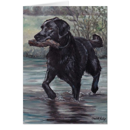 Fetch Labrador Retriever Dog Art Greeting Card